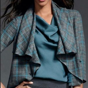 CAbi Court Teal Gray Plaid Jacket Size 8